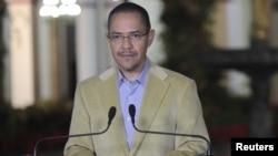 Міністр інформації Венесуели Ернесто Вільєґас зачитує повідомлення про стан здоров'я Уґо Чавеса