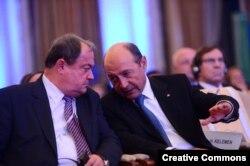 Vasile Blaga și Traian Basescu la congresul PPE din ooctombrie 2012