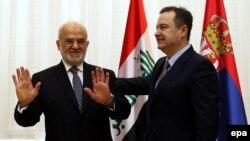 Ivica Dačić sa iračkim ministrom spoljnih poslova Ibrahimom al-Džafarijemm na press konferenciji u Beogradu, 19. decembara 2017.