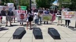 ABŞ-da türkmen aktiwistleri protest geçirip, BSG-dan düşündiriş soradylar