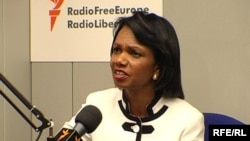 (PRAGUE) U.S. Secretary of State Condoleezza Rice during an interview with Radio Farda at RFE/RL's headquarters, 08Jul2008