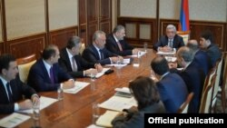 Armenia - President Serzh Sarkisian holds an emergency meeting with senior officials in Yerevan, 9Jan2018.