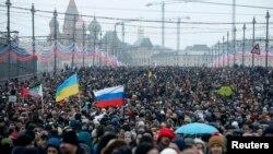 Москвадаги хотира марши иштирокчилари, 2015 йилнинг 1 марти.