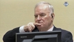 Ratko Mladic reacts in court at the International Criminal Tribunal for the former Yugoslavia in The Hague in November 2017.