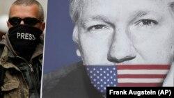 Сторонник Джулиана Ассанжа, основателя портала WikiLeaks, в Лондоне.