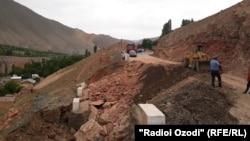 Тажикстандагы жол курулушу.