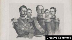 Николай Первый с сыновьями (на дальнем плане - в.к. Николай и Михаил)