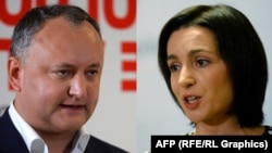 Pro-Russia candidate Igor Dodon (left) and pro-EU reformist Maia Sandu (right) will most likely face each other in a presidential runoff vote on November 13.