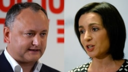 The two main candidates in Moldova's upcoming presidential election: current incumbent Igor Dodon (right) and formr Prime Minister Maia Sandu (composite file photo)