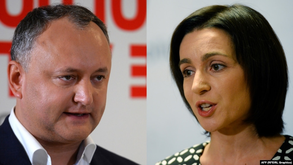Pro-Russia candidate Igor Dodon (right) and pro-EU reformist Maia Sandu (right) will most likely face each other in a presidential runoff vote on November 13.