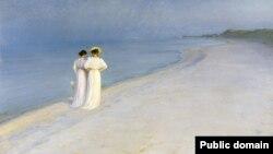Пэдэр Сэвэрын Кроер, «Летні вечар на паўднёвым пляжы ў Скагене» (1893)