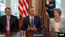 Джон Бейнер, Барак Обама и Нэнси Пелоси на встрече в Белом доме, 3 сентября 2013 г.