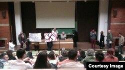Akcija studenata protiv stranke Dveri u Beogradu