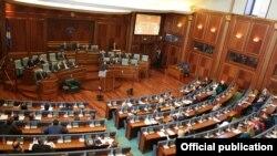 Presidentja e Kosovës, Atifete Jahjaga, gjatë fjalimit të saj në Kuvendin e Kosovës