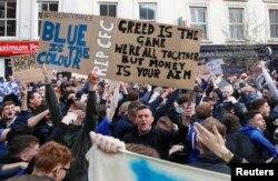 Protesta e tifozëve të ekipit Chelsea. 20 prill, 2021.