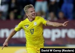 Ukraine's Oleksandr Zinchenko celebrates after scoring the team's second goal in Uherske Hradiste on September 6.