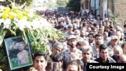 Mourners at Mojtaba Ahmadi's funeral