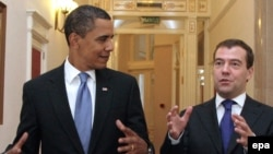 US President Barack Obama and Russian President Dmitry Medvedev