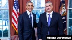 U.S.- U.S. President Barack Obama meets with newly appointed Armenian Ambassador Grigor Hovannisian, Washington, 28Jan2016.