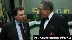 Главный дирижер Большого театра Александр Ведерников и Святослав Бэлза за кулисами театра Ла Скала в Милане. 8 января 2008 года