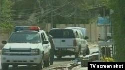 Автомашина российской миссии, из которой и были похищены дипломаты. Кадр НТВ