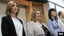 Архивска фотографијаПрес-конференција на Специјалното јавно обвинителство. Специјалните обвинителки Ленче Ристоска, Катица Јанева, Фатиме Фетаи.