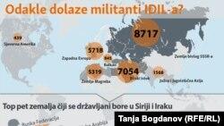 Infografika: Odakle dolaze militanti IDIL-a