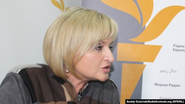 Iryna Lutsenko, who was recently elected to parliament, appears at RFE/RL's Kyiv bureau.