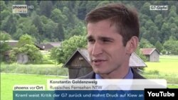 Konstantin Goldentsvaig, a Berlin-based reporter for NTV, speaking on the German public television station Phoenix during the Group of Seven (G7) summit in southern Germany.