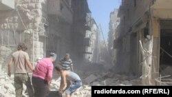 Pamje e Alepos pas një sulmi ajror më 11 tetor