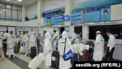 Самаркандские паломники, вылетевшие в Мекку 12 сентября этого года.