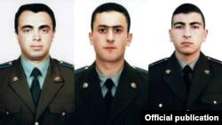 Ադրբեջանի կողմից խփված Մի-24 ուղղաթիռի անձնակազմի զոհված անդամներ (ձախից՝ աջ) մայոր Սերգեյ Սահակյան, լեյտենանտ Ազատ Սահակյան, ավագ լեյտենանտ Սարգիս Նազարյան