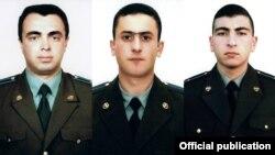 Armenia - The pilots of an Armenian military helicopter shot down near Nagorno-Karabakh on November 12, 2014: Major Sergey Sahakian (L), Lieutenant Azat Sahakian, Senior Lieutenant Sargis Nazarian.