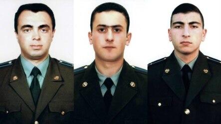 Экипаж сбитого вертолета Ми-24 (слева направо): майор Сергей Саакян, лейтенант Азат Саакян, старший лейтенант Саркис Назарян.
