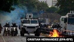 Поліція застосувала силу проти учасників протесту. Каракас, 23 січня 2019 року