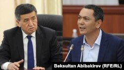 Sooronbai Jeenbekov (left) and Omurbek Babanov, the front-runners in the Kyrgyz presidential election (composite file photo)