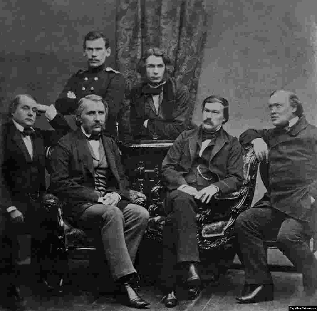 Tolstoy (top left) poses with a group of other Russian writers in 1856. By the time this photograph was taken, Tolstoy was known as an emerging talent in Russia's literary scene.