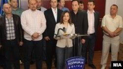 Ministarka Gordana Jankuloska na konferenciji za novinare povodom hapšenja, 1. maj 2012.