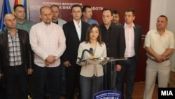 Министерката Јанкулоска на прес конференцијата кога беше потврдено апсењето на 20 осомничени за петкратното убиство во Смиљковци