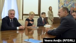 Известувачот на Европскиот Парламент за Србија, Јелко Кацин и претседателот на Србија Томислав Николиќ.