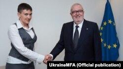 Надія Савченко разомз із Президентом ПАРЄ Педро Аграмунтом