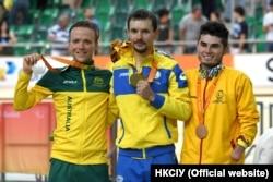 Єгор Деменьтєв з суперниками на нагородженні