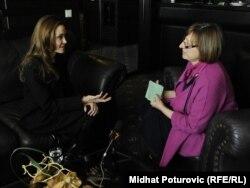 Angelina Jolie tokom intervjua sa Gordanom Knežević, Sarajevo, 15. februar 2012.