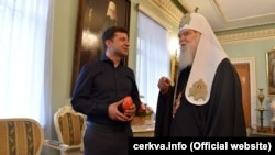 Ukrayna patriarxı Filaret və Volodymyr Zelenskiy