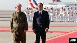 الرئيس بارزاني يستقبل الرئيس الفرنسي في مطار اربيل 12ايلول2014