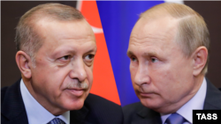A combination photo of Turkish President Recep Tayyip Erdogan (left) and Russian President Vladimir Putin.