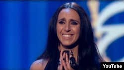 Jamala after performing her song in the quarterfinal of Ukraine's competition to select its entry for this year's Eurovision song contest.