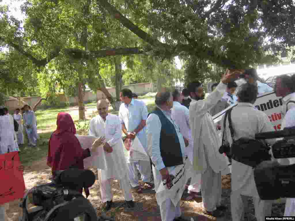 Peace Movement activists gather in Peshawar.