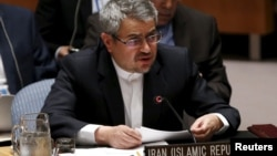U.S. - Iran's United Nations (U.N.) Ambassador Gholamali Khoshroo speaks at a United Nations Security Council meeting at the U.N. headquarters in New York, July 20, 2015