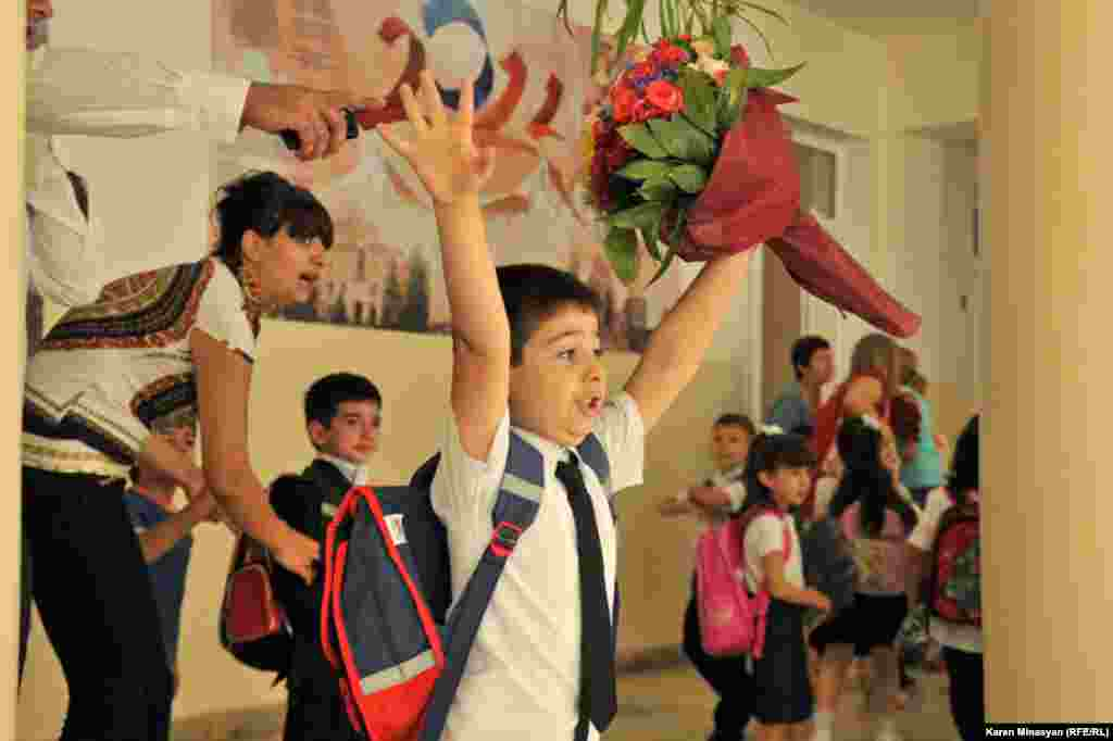 The first day of school at the Nairi Zaryan elementary school in the Arabkir district of Yerevan, Armenia